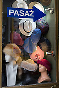 A detail of a shop window selling hats and miscellaneous millinery, on 23rd September 2019, in Krakow, Malopolska, Poland.