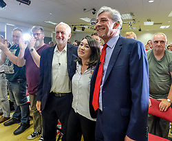 Labour leader Jeremy Corbyn MP joined Scottish Labour leader Richard Leonard at a rally in Livingston, Scotland, to mark the 70th anniversary of the founding of the NHS. They were joined by local Labour candidate Rhea Wolfson.<br /> <br /> &copy; Dave Johnston / EEm