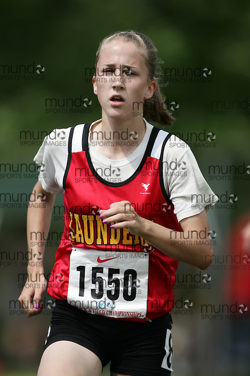 Hamilton, Ontario ---07/06/08--- Kirsten Allen of Saunders in London competes in the 3000 meters at the 2008 OFSAA Track and Field meet in Hamilton, Ontario..GEOFF ROBINS