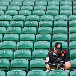 An Exeter fan looks on during the Aviva Premiership Final match between Exeter Chiefs and Saracens at Twickenham Stadium on May 26, 2018 in London, England. (Photo by Alex Davidson)