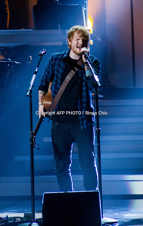 Ed Sheeran performs at a concert, Stevie Wonder: Songs In The Key Of Life - An All-Star GRAMMY Salute, at Nokia Theatre L.A. Live on February 10, 2015 in Los Angeles, California. AFP PHOTO / Ringo Chiu