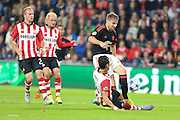 Luke Shaw of Manchester United in a bad tackle during the Champions League Group B match between PSV Eindhoven and Manchester United at Philips Stadion, Eindhoven, Netherlands on 15 September 2015. Photo by Phil Duncan.