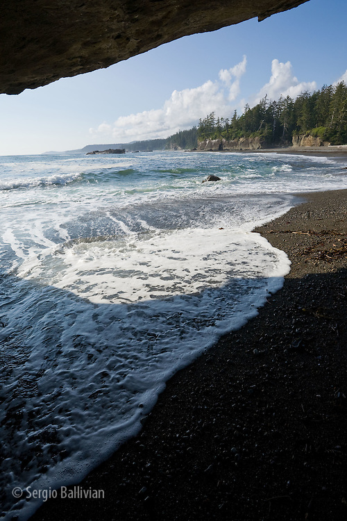 West Coast Trail - Day 3.  The view inside hole-in-the-wall point looking north as the tide is rising.