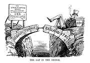 The Gap in the Bridge. (a flaw in the design of the League of Nations Bridge as Uncle Sam sleeps on the USA keystone with a girder propping up the bridge built with keystones by Belgium, France, England and Italy)