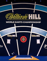 General view of the oche during day one of the William Hill World Darts Championship at Alexandra Palace, London.