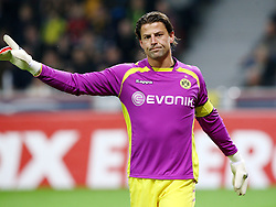 Dortmund's keeper Roman Weidenfeller models his lovely purple kit. Bayer Leverkusen vs Borussia Dortmund.