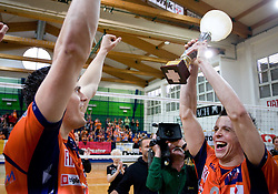 Davor Cebron and Matija Plesko at last final volleyball match of 1.DOL Radenska Classic between OK ACH Volley and Salonit Anhovo, on April 21, 2009, in Arena SGS Radovljica, Slovenia. ACH Volley won the match 3:0 and became Slovenian Champion. (Photo by Vid Ponikvar / Sportida)