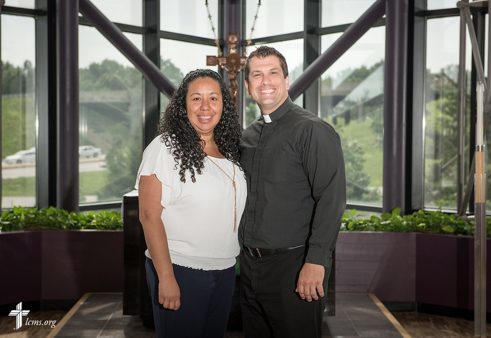 Portrait of Deaconess Mireya Johnson, production coordinator in LCMS Communications, and the Rev. Ross Johnson, director of LCMS Disaster Response, in the International Center chapel of The Lutheran Church–Missouri Synod on Wednesday, Sept. 3, 2014, in Kirkwood, Mo. LCMS Communications/Erik M. Lunsford