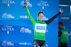 Kendall Ryan (USA) of Tibco-Silicon Valley Bank Cycling Team celebrates wearing the sprint competition's leader's green jersey after Stage 1 of the Amgen Tour of California - a 124 km road race, starting and finishing in Elk Grove on May 17, 2018, in California, United States. (Photo by Balint Hamvas/Velofocus.com)