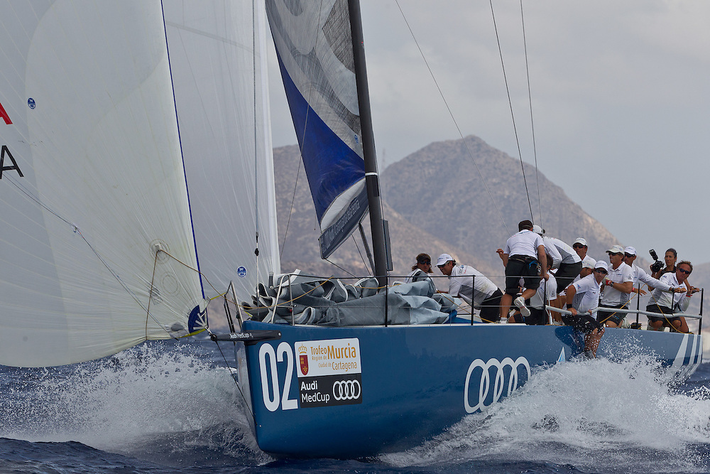 SPAIN, Cartagena. 28th August 2011. AUDI MedCup, Region of Murcia Cartagena Trophy. TP52, Audi Azzurra Sailing Team.
