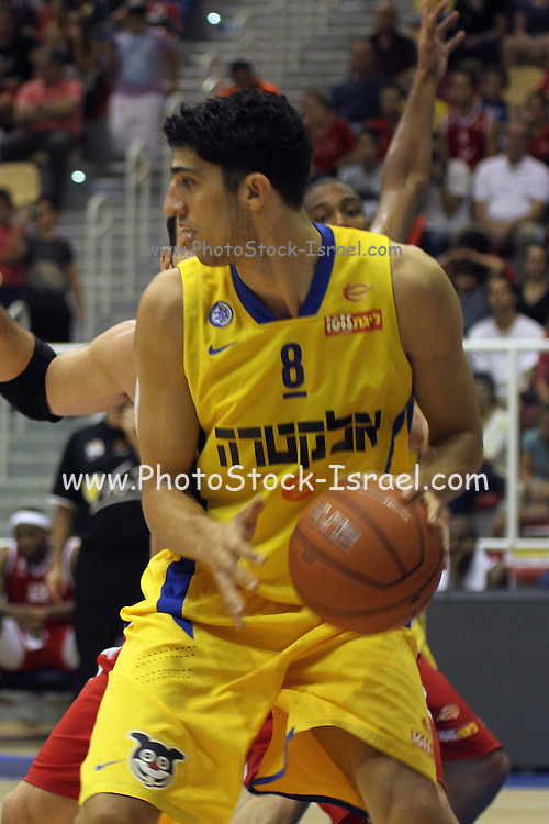 Maccabi Tel Aviv Basketball team (Yellow) Playing Hapoel Gilboa-Galil (Red) on October 16th 2011. Final result Maccabi 95 Hapoel 60. Lior Eliyahu