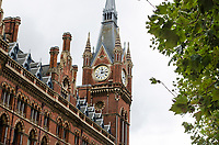 Clock Tower, St Pancras Renaissance Hotel, St Pancras, London, UK. At the same location is St Pancras Railway Station from where the Eurostar high speed trains operate to Continental Europe via the Channel Tunnel. The St Pancras Complex also incorporates many big name stores and restaurants. 201609044279<br />