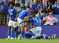 Football - 2019 / 2020 Premier League - Leicester City vs. Tottenham Hotspur<br /> <br /> James Maddison of Leicester celebrates scoring the winning goal ( no 2) , with Demarai Gray, Jamie Vardy and Hamza Choudhury (left) at The King Power Stadium.<br /> <br /> COLORSPORT/ANDREW COWIE