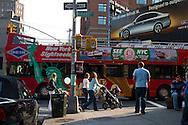New York. Soho, tourist bus  in front of cafe restaurant Felix, New York - United States  /  Soho bus a touriste  New York - Etats unis