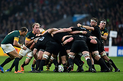 New Zealand in possession at a scrum - Mandatory byline: Patrick Khachfe/JMP - 07966 386802 - 24/10/2015 - RUGBY UNION - Twickenham Stadium - London, England - South Africa v New Zealand - Rugby World Cup 2015 Semi Final.