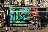 Paris 18th district.  Market  Boulevard de la Chapelle in Barbes,