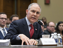 July 5, 2018 - (File Photo) - Scott Pruitt, the head of the Environmental Protection Agency, has resigned, according to White House Officials. PICTURED: April 26, 2018 - Washington, District of Columbia, U.S. - SCOTT PRUITT, Administrator, United States Environmental Protection Agency (EPA) testifies before the US House Committee on Energy and Commerce on the Fiscal Year 2019 Environmental Protection Agency Budget on Capitol Hill.  Pruitt was questioned extensively about his spending and ethic lapses while running the EPA. (Credit Image: © Ron Sachs/CNP via ZUMA Wire)