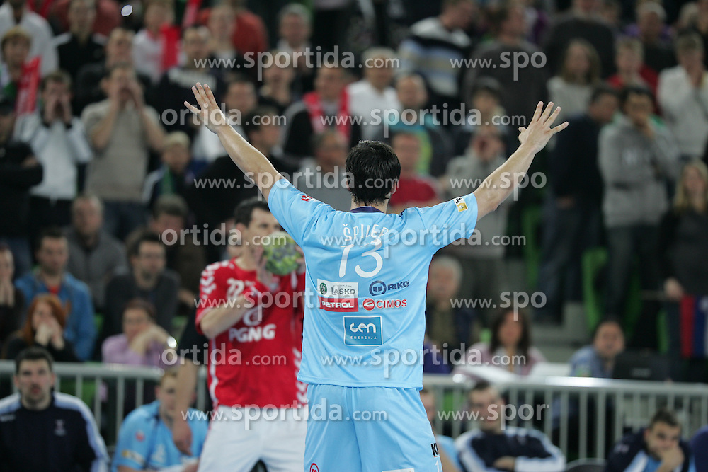 David Spiler (SLO) at handball match between National teams of Slovenia and Poland of Qualifications for EURO 2012, on March 9, 2011 in Arena Stozice, Ljubljana, Slovenia. (Photo By Vid Ponikvar / Sportida.com)