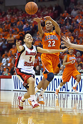 28 March 2010: Lacey Simpson brings the ball up the court challenged by Alexis Jenkins and passes off. The Redbirds of Illinois State squeak past the Illini of Illinois 53-51 in the 4th round of the 2010 Women's National Invitational Tournament (WNIT) on Doug Collins Court inside Redbird Arena at Normal Illinois.