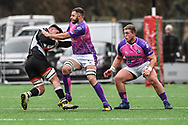 Bedwas's Nathan Hudd is tackled by Pontypridd's Chris Dicomidis - Mandatory by-line: Craig Thomas/Replay images - 30/12/2017 - RUGBY - Sardis Road - Pontypridd, Wales - Pontypridd v Bedwas - Principality Premiership