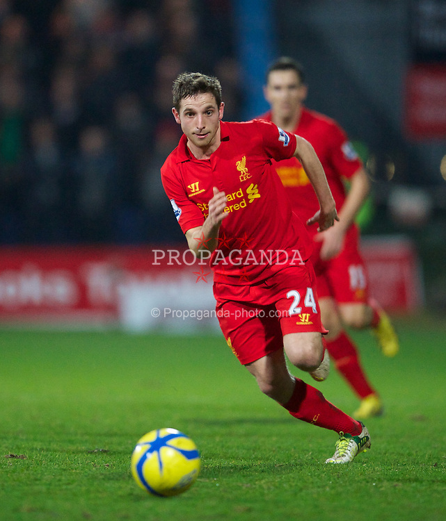 MANSFIELD, ENGLAND - Sunday, January 6, 2013: Liverpool's Joe Allen in action against Mansfield Town during the FA Cup 3rd Round match at Field Mill. (Pic by David Rawcliffe/Propaganda)