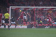 August 19th 2017, Pittodrie Stadium, Aberdeen, Scotland;  Scottish Premiership football, Aberdeen versus Dundee; Aberdeen's Stevie May scores with his head for 1-0