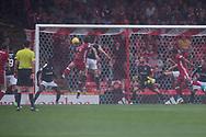 August 19th 2017, Pittodrie Stadium, Aberdeen, Scotland;  Scottish Premiership football, Aberdeen versus Dundee; Aberdeen's Stevie May scores with his head for 1-0