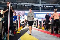 07 DEC 2018, HAMBURG/GERMANY:<br /> Annegret Kramp-Karrenbauer, CDU Generalsekretaerin und Kandidatin fuer das Amt der Parteivorsitzenden der CDU, nach Ihrer Bewerbungsrede, auf dem Weg zu ihrem Platz in den Reihen der Delegierten aus dem Saarland, CDU Bundesparteitag, Messe Hamburg<br /> IMAGE: 20181207-01-129<br /> KEYWORDS: party congress