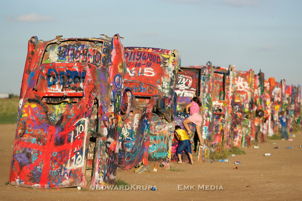 Cadillac Ranch is a public art installation and sculpture in Amarillo, Texas, U.S. It was created in 1974 by Chip Lord, Hudson Marquez and Doug Michels, who were a part of the art group Ant Farm.