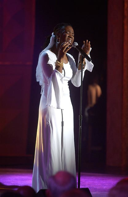 India Arie performing during the BET Walk of Fame show Honoring Stevie Wonder.