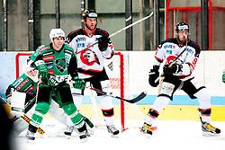 07.10.2012, Hostan Arena, Znojmo, CZE, EBEL, HC Orli Znojmo vs HDD Olimpija Ljubljana, 10. Runde, im Bild # 35. Kuhn Jerry LJU, 29. Bickel Brian ZN, 96. Jarusek Richard ZN  during the Erste Bank Icehockey League 10nd round match betweeen HC Orli Znojmo and HDD Olimpija Ljubljana at the Hostan Arena, Znojmo, Czech Republic on 2012/10/07. EXPA Pictures © 2012, PhotoCredit: EXPA/  Rostislav Pfeffer