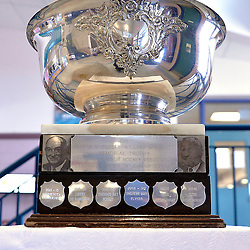 FORT FRANCES, ON - May 1, 2015 : Central Canadian Junior &quot;A&quot; Championship, Dudley Hewitt Cup on display at the entrance to Memorial Sports Centre.<br /> (Photo by Shawn Muir / OJHL Images)