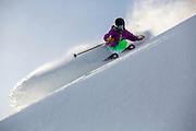 Robin McElroy slashes perfect powder at Alpine Meadows, CA