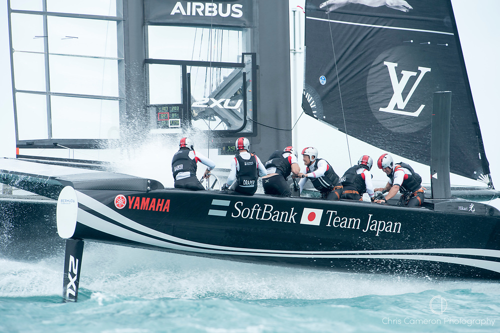 The Great Sound, Bermuda. 6th June 2017. Soft Bank Team Japan start their 4th Louis Vuitton America's Cup Challenger Playoff Semi-Final against Artemis Racing (SWE).
