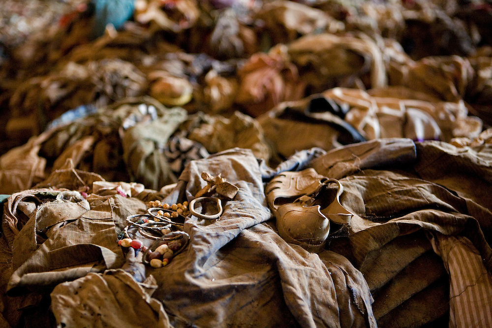 Jewellery and shoe of massacre victims bring a very personal tone to the piles of bloodstained clothing, Nyamata Church memorial