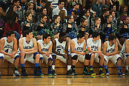 The Colchester bench, dance team and students watch the action on the court during the boys basketball game between the Essex Hornets and the Colchester Lakers at Colchester High School on Tuesday night December 15, 2015 in Colchester. (BRIAN JENKINS/for the FREE PRESS)
