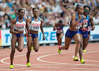 Athletics - 2017 IAAF London World Athletics Championships - Day Nine, Morning Session<br /> <br /> 4 x 100m Relay Women - Round 1<br /> <br /> Dina Asher-Smith hands the baton to Daryll Nieta (Great Britain) as they head into the home straight at the London Stadium<br /> <br /> COLORSPORT/DANIEL BEARHAM