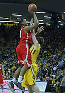 January 07, 2011: Ohio State Buckeyes forward Jared Sullinger (0) puts up a shot over Iowa Hawkeyes forward Zach McCabe (15) during the the NCAA basketball game between the Ohio State Buckeyes and the Iowa Hawkeyes at Carver-Hawkeye Arena in Iowa City, Iowa on Saturday, January 7, 2012.