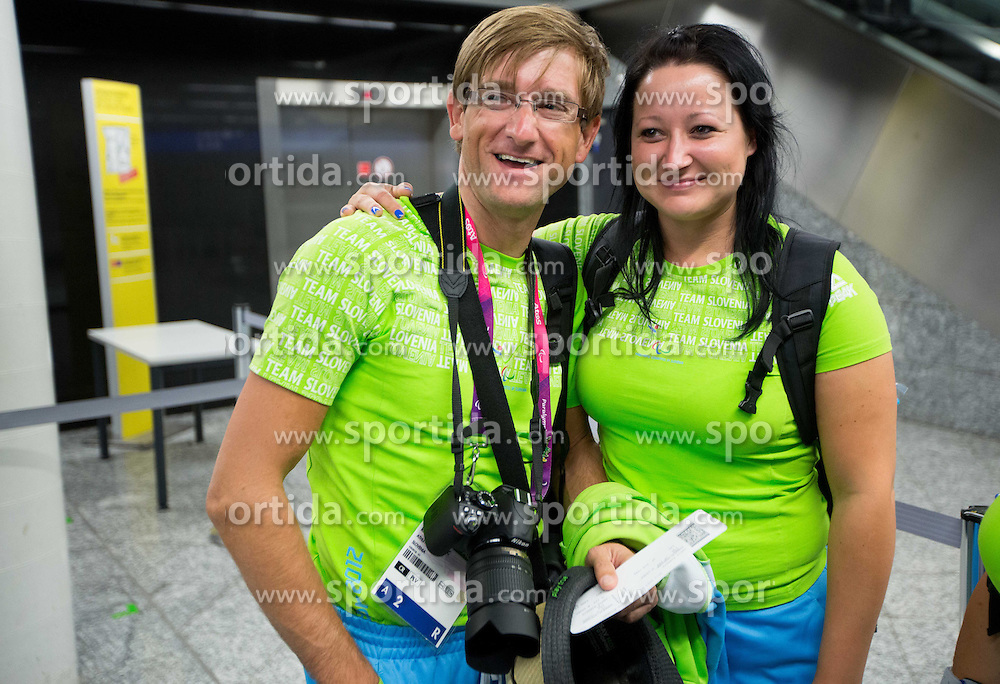 Roman Pongrac and Suzana Ocepek of Team Slovenia at Airport in Frankfurt during way back to Airport Joze Pucnik after the London 2012 Paralympic Games on September 10, 2012, in Frankfurt, Germany. (Photo by Vid Ponikvar / Sportida.com)