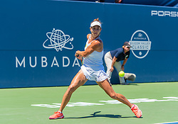 August 5, 2018 - San Jose, CA, U.S. - SAN JOSE, CA - AUGUST 05: Mihaela Buzarnescu (ROU) sets for a backhand return during the WTA Singles Championship at the Mubadala Silicon Valley Classic  at the San Jose State University Stadium Court in San Jose, CA  on Sunday, August 5, 2018. (Photo by Douglas Stringer/Icon Sportswire) (Credit Image: © Douglas Stringer/Icon SMI via ZUMA Press)