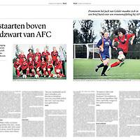 Tekst en beeld zijn auteursrechtelijk beschermd en het is dan ook verboden zonder toestemming van auteur, fotograaf en/of uitgever iets hiervan te publiceren <br /> <br /> Trouw 6 september 2014: vrouwenvoetbal AFC