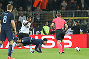 Antonio Rudiger of Germany fouls Dele Alli of England during the International Friendly match between Germany and England at Signal Iduna Park, Dortmund, Germany on 22 March 2017. Photo by Phil Duncan.