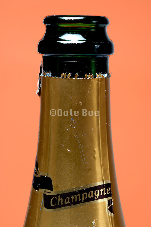 champagne bottle neck with label