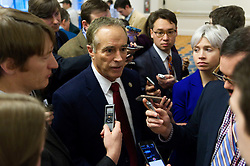 """US Representative Chris Collins of New York meets with the media, at the """"Congress of Tomorrow"""" Joint Republican Issues Conference, at the Loews Hotel, in Center City, Philadelphia, Pennsylvania, on January 25, 2017. On Thursday President Donald Trump and UK Prime Minister Theresa May are expected to join republicans gathered for a """"Congress of Tomorrow"""" Joint Republican Issues Conference."""