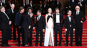 L-R) Actor Garrett Hedlund, director Joel Coen, actor Oscar Isaac, actress Carey Mulligan, actor Justin Timberlake, director Ethan Coen, actor John Goodman and musician T-Bone Burnettattends the 'Inside Llewyn Davis' Red Carpet during the 66th Annual Cannes Film Festival at the Palais des Festivals on May 19, 2013 in Cannes, France.