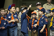 Cub Scouts and Boy Scouts prior to the start of a game between the Amerks and the Springfield Falcons at the Blue Cross Arena in Rochester on Friday, March 4, 2016.