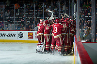REGINA, SK - MAY 19: The Acadie-Bathurst Titan celebrate the win against the Swift Current Broncos at the Brandt Centre on May 19, 2018 in Regina, Canada. (Photo by Marissa Baecker/CHL Images)