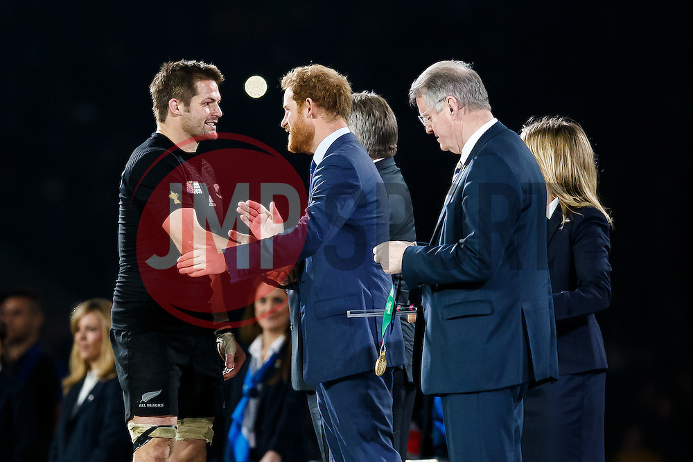 New Zealand Flanker Richie McCaw (capt) is congratulated by Prince Harry after New Zealand win the match 34-17 to become 2015 World Cup Champions - Mandatory byline: Rogan Thomson/JMP - 07966 386802 - 31/10/2015 - RUGBY UNION - Twickenham Stadium - London, England - New Zealand v Australia - Rugby World Cup 2015 FINAL.
