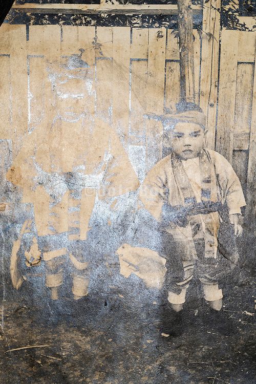 deteriorating casual portrait of two little boys wearing Happi coats Japan ca 1930s