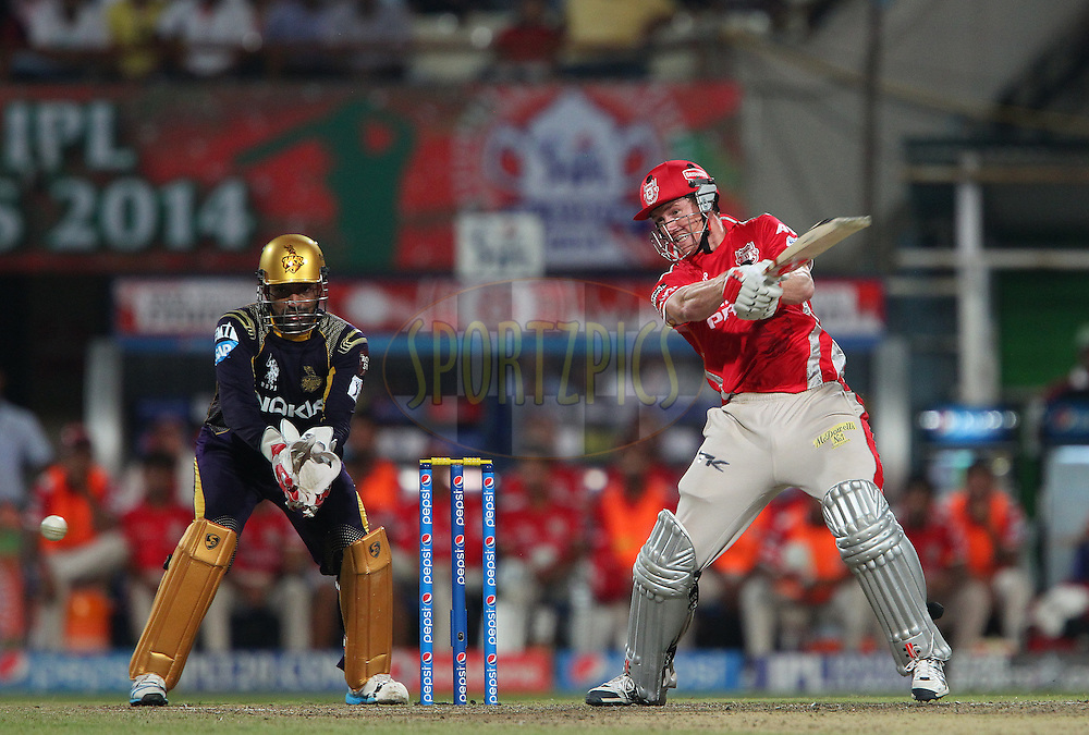George Bailey of the Kings X1 Punjab cuts a four during the first qualifier match (QF1) of the Pepsi Indian Premier League Season 2014 between the Kings XI Punjab and the Kolkata Knight Riders held at the Eden Gardens Cricket Stadium, Kolkata, India on the 28th May  2014<br /> <br /> Photo by Ron Gaunt / IPL / SPORTZPICS<br /> <br /> <br /> <br /> Image use subject to terms and conditions which can be found here:  http://sportzpics.photoshelter.com/gallery/Pepsi-IPL-Image-terms-and-conditions/G00004VW1IVJ.gB0/C0000TScjhBM6ikg